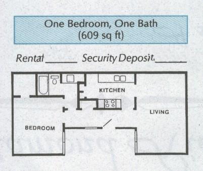 609 sq. ft. A2 floor plan