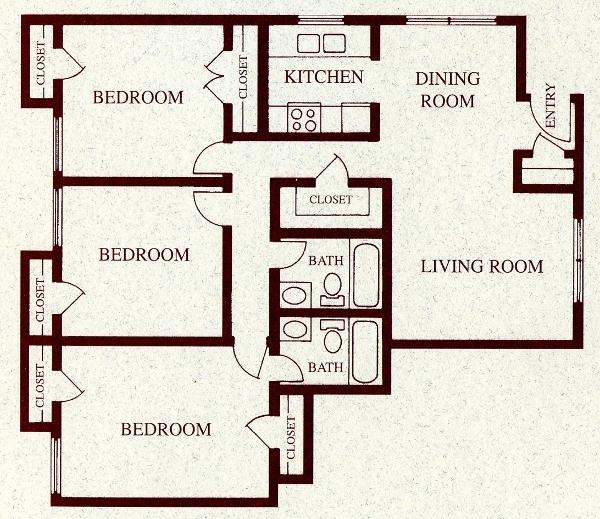 1,105 sq. ft. C floor plan