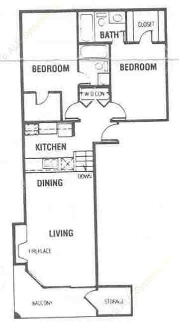 877 sq. ft. B1/B2 floor plan