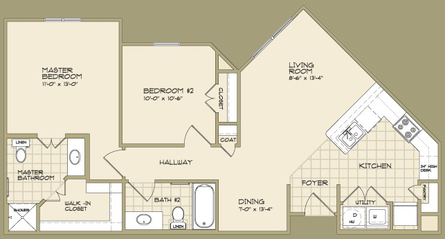 925 sq. ft. DEWBERRY/60 floor plan