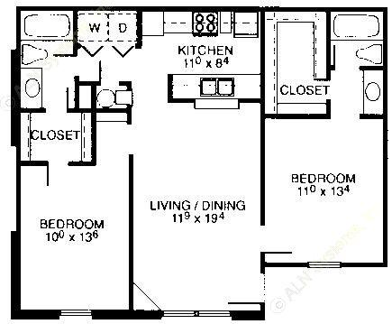 943 sq. ft. floor plan