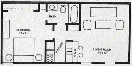 525 sq. ft. A2 floor plan