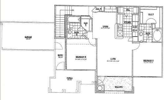1,037 sq. ft. E2 floor plan
