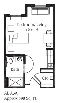 398 sq. ft. A3A floor plan