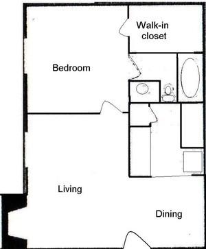 520 sq. ft. A floor plan