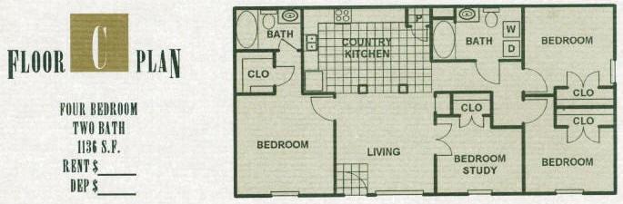 1,136 sq. ft. 60% floor plan