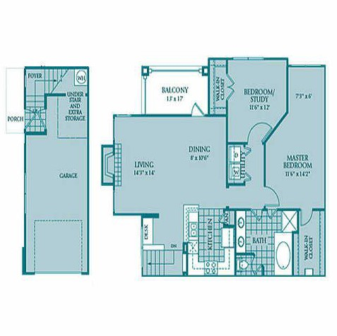 1,200 sq. ft. SAPPHIRE floor plan