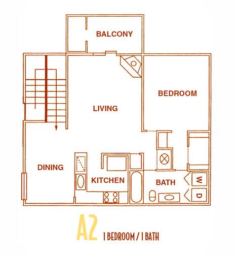 800 sq. ft. A2U floor plan