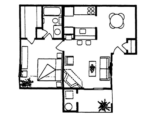 623 sq. ft. Brazos floor plan