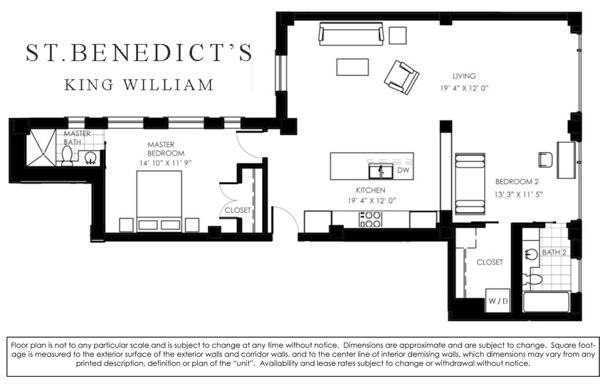 1,304 sq. ft. D floor plan