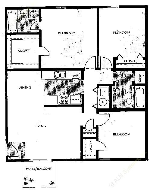 1,165 sq. ft. floor plan