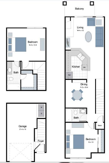 1,123 sq. ft. B1 floor plan