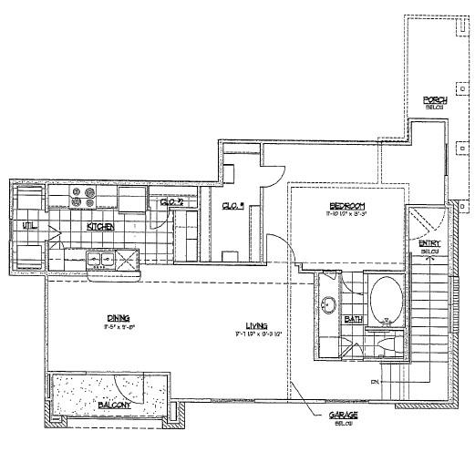 788 sq. ft. C1 floor plan