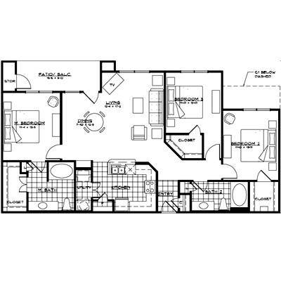 1,445 sq. ft. MESSINA floor plan