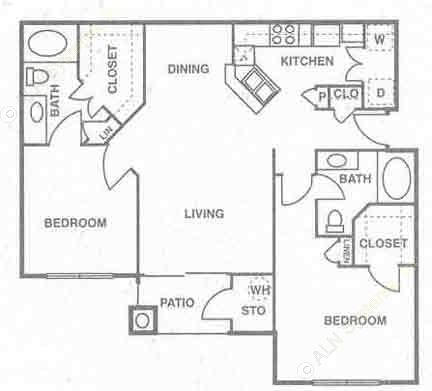 1,125 sq. ft. B3 floor plan