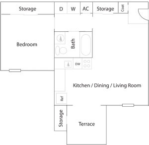 554 sq. ft. A-1 floor plan