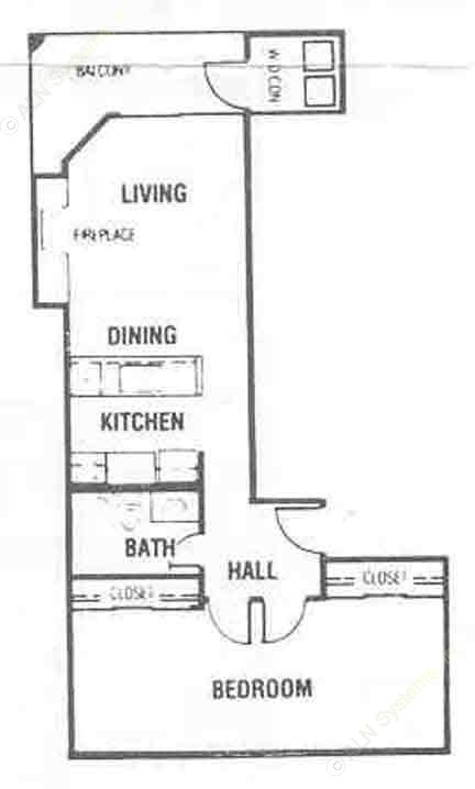 684 sq. ft. A3 floor plan
