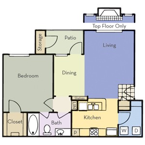 767 sq. ft. A1B floor plan