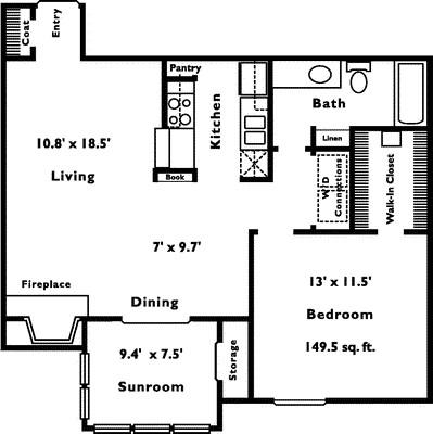 811 sq. ft. 1D floor plan
