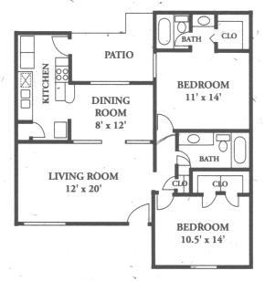 1,038 sq. ft. B7 floor plan