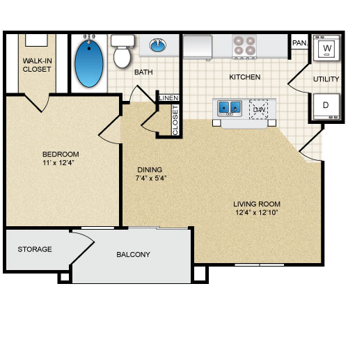 650 sq. ft. WAVERLY floor plan