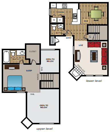 839 sq. ft. A3 floor plan