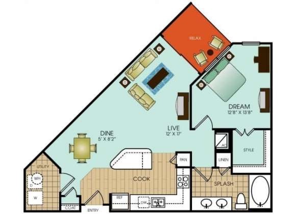 794 sq. ft. to 808 sq. ft. floor plan