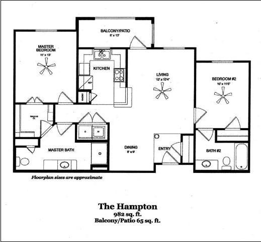 982 sq. ft. HAMPTON/60 floor plan