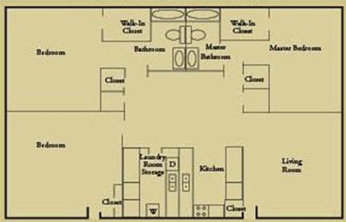 1,260 sq. ft. C1 floor plan