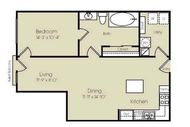 853 sq. ft. Carnegie Hall floor plan