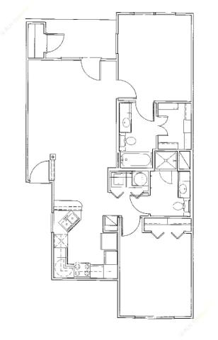 983 sq. ft. Sandollar/60% floor plan