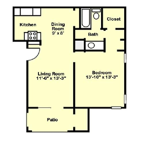 631 sq. ft. A4 floor plan