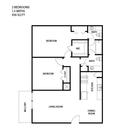935 sq. ft. floor plan