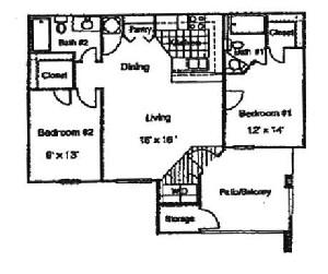 1,000 sq. ft. Daffodil/60 floor plan