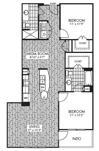 1,185 sq. ft. B2 floor plan