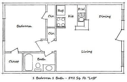592 sq. ft. B-ABP floor plan