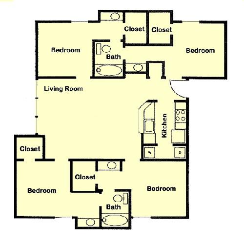 1,269 sq. ft. D4 floor plan