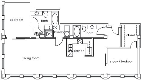 1,375 sq. ft. GS Plan M floor plan
