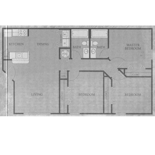 1,063 sq. ft. 50% floor plan