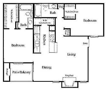 960 sq. ft. RW B-2 floor plan