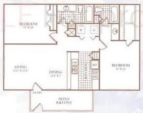 985 sq. ft. H floor plan