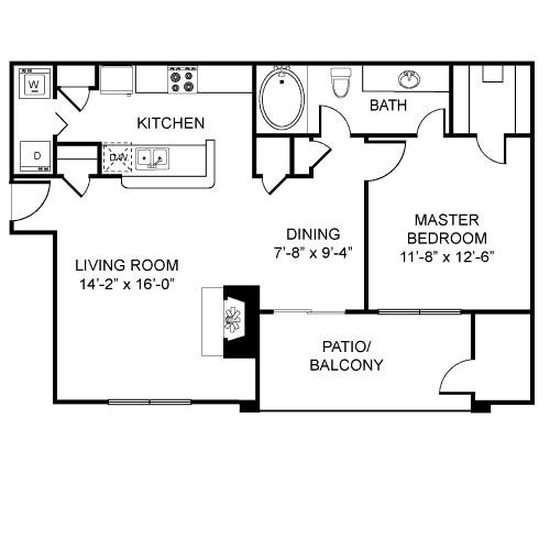 782 sq. ft. A3 floor plan