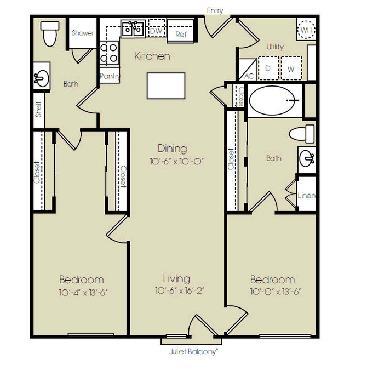 1,145 sq. ft. to 1,477 sq. ft. Broadway floor plan