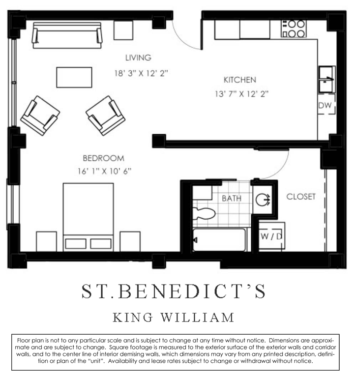 827 sq. ft. B floor plan
