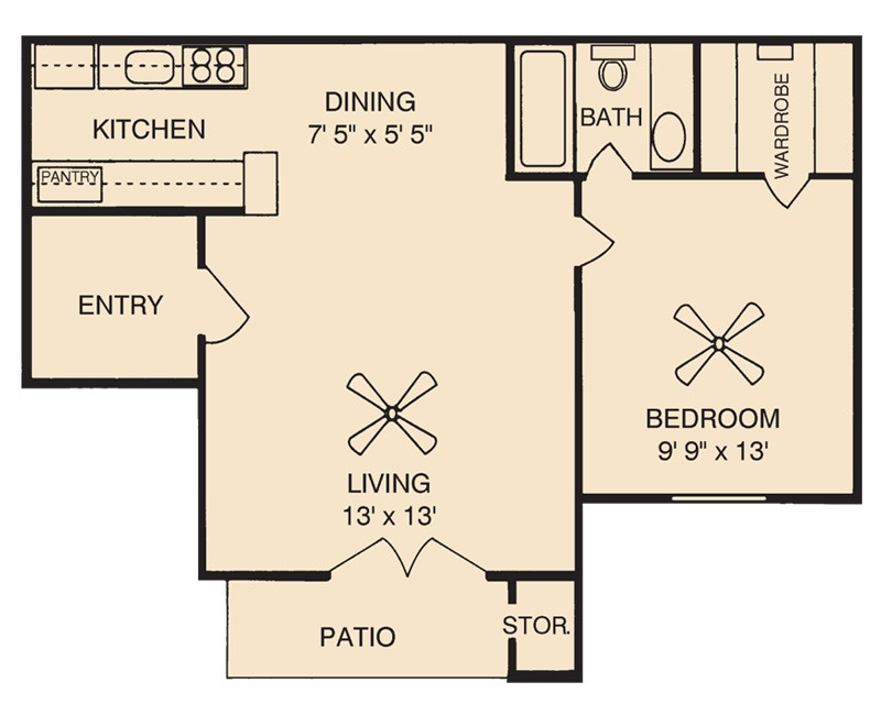 536 sq. ft. A1 floor plan
