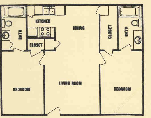 875 sq. ft. C floor plan