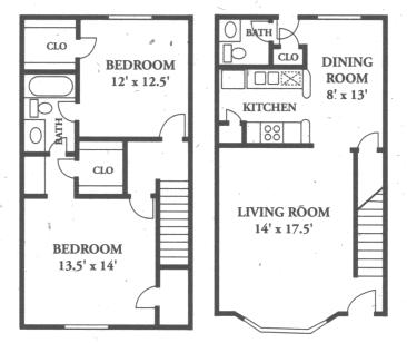 1,170 sq. ft. B4-/B5 floor plan