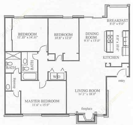 1,400 sq. ft. B3 floor plan