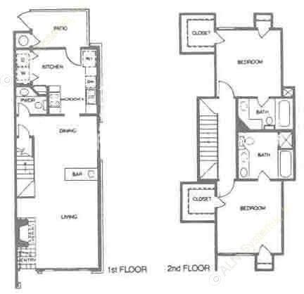 1,085 sq. ft. B3 floor plan