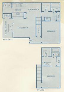 1,105 sq. ft. B4 floor plan